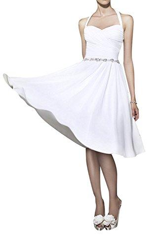 La linie Festlichkleider Partykleider Gelb Kurz Brautjungfernkleider Knielang Elegant Abendkleider Braut A Hell mia Weiß Txwq7TPr
