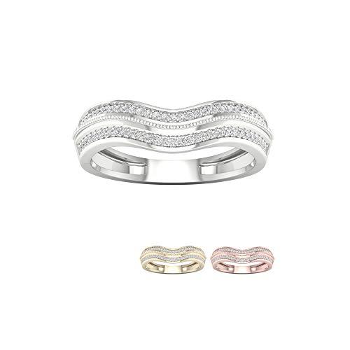 IGI Certified 10k White Gold 1/6Ct TDW Round Diamond Womens Engagement Ring Band (I-J,I2)