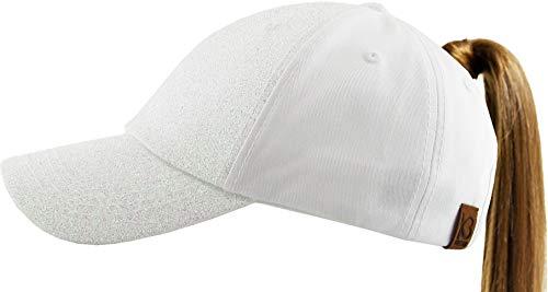 KBETHOS PONY-005 WHT Glitter Ponytail Messy High Bun Headwear Adjustable Cotton Trucker Mesh Hat Baseball -