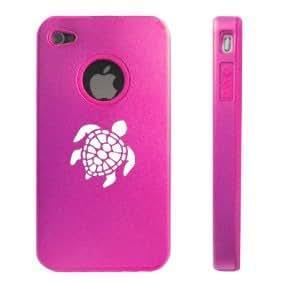 Apple iPhone 4 4S 4G Hot Pink D115 Aluminum & Silicone Case Sea Turtle
