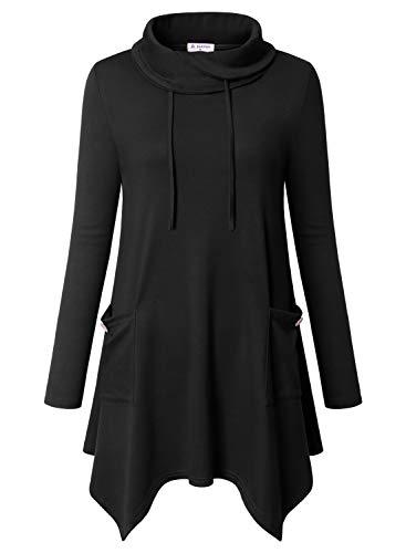Bulotus Tunic Tops for Leggings, Women's Elastic Knitting Turtleneck Long Sleeve Tunic Blouse Top Plus Size 3X,Black,XXX-Large