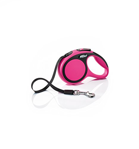 Flexi New Comfort Retractable Dog Leash (Tape), 10 ft,Extra-Small, Pink