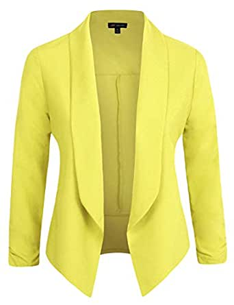 Michel Womens Casual Blazer Work Office Lightweight Stretchy Open Front Lapel Jacket Cardigan with Plus Size - Green - Small