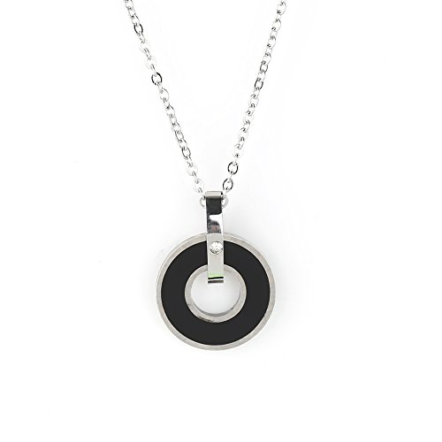 (United Elegance Stylish Silver Tone Designer Necklace with Jet Black Faux Onyx Circular Pendant)