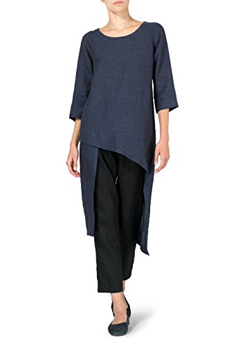 Vivid Linen Asymmetrical Tunic-M-Dark Denim
