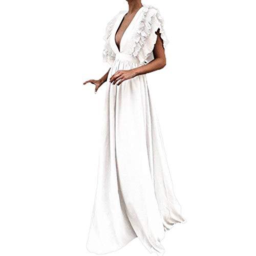 (JHKUNO Women Dresses, Women's Sexy Deep V Neck Backless Sleeveless Ruffle Floral Print Split Maxi Party Dress)