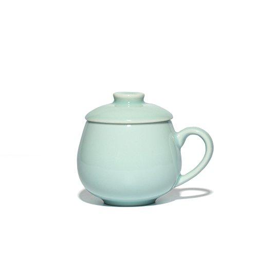 Celadon Coffee Mugs with Lid 10-Ounce Ceramic Teacups Porcelain Drinkware(Sky Blue)