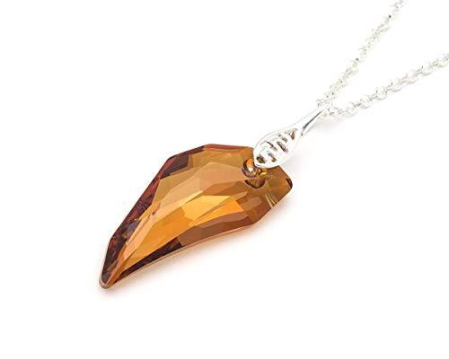 (Crystal Fang - Swarovski Pegasus big crystal Copper sterling silver 925 necklace 17.7 in)