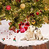Christmas Tree Skirt 48inch White Christmas Snowman Tree Ornaments Decorations for Pets Indoor Outdoor Home Xmas Holiday Party Decor