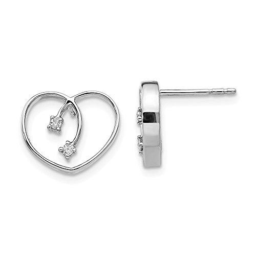 925 Sterling Silver .04ct Diamond Heart Post Stud Earrings Love Fine Jewelry Gifts For Women For - Heart Diamond Post