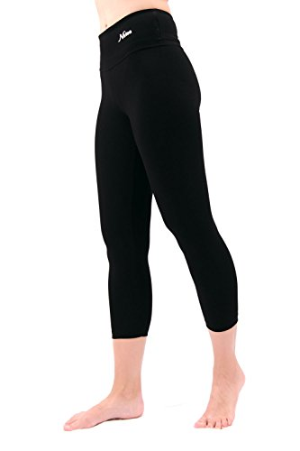NIRLON Capri Leggings for Women High Waist Workout Capris Yoga Pants Plus Size (XL, Black 22