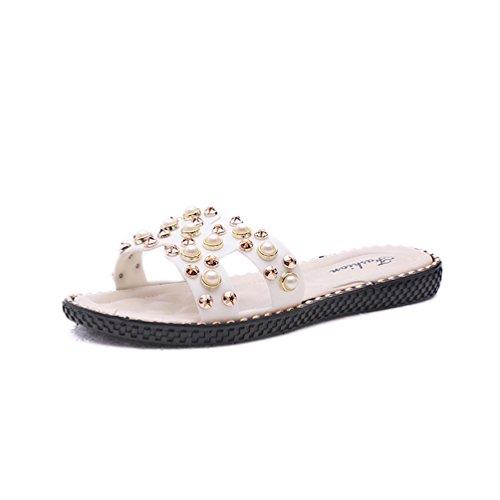Plage Femmes Bling Chaussures Casual Été Sandales Confort Perlé Sabot Plates JITIAN Tongs Cloutées Blanc Mules qEwdCq0