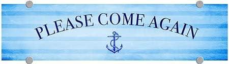 5-Pack Please Come Again CGSignLab 24x6 Nautical Stripes Premium Acrylic Sign