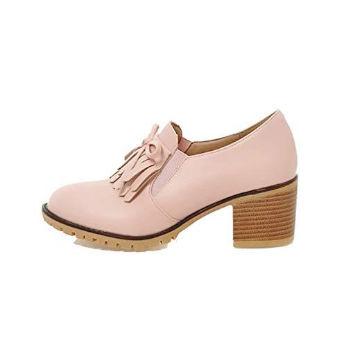 AllhqFashion Flats Tacco Luccichio Donna Ballet Puro FBUIDD006358 Medio Rosa Tirare rEO0xAwnqr