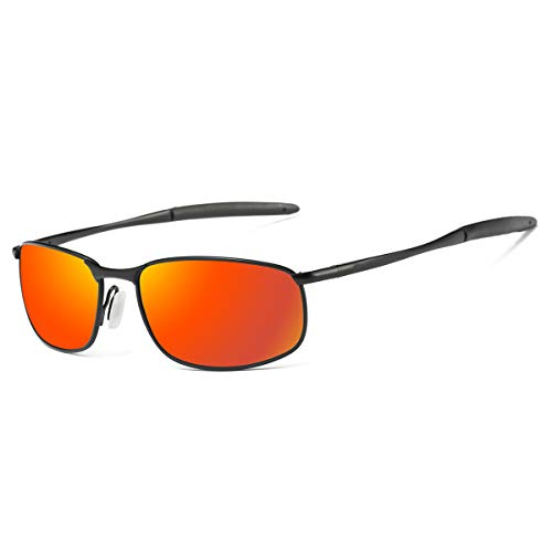 Polarized Sunglasses for Men, ZHILE 8-base Curve Wrap Metal Frame for Fishing Sporting Driving with Sunglasses Case (Black frame Orange Red mirrored lens, -