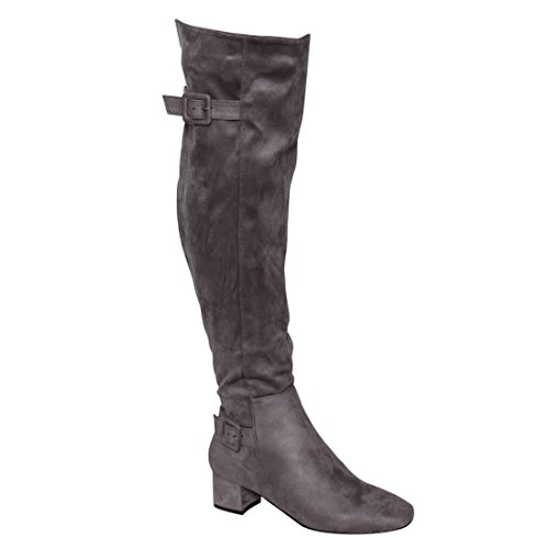 Faux Suede Buckle (Beston EJ47 Women's Side Zipper Buckle Strap Block Heel Over The Knee High Boots, Color Grey, Size:7.5)