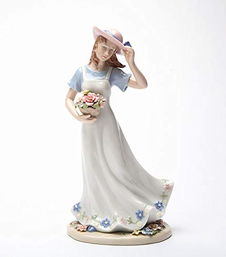 Cosmos Gifts Fine Porcelain Breezy Grace Lady with Flowers Figurine, 10