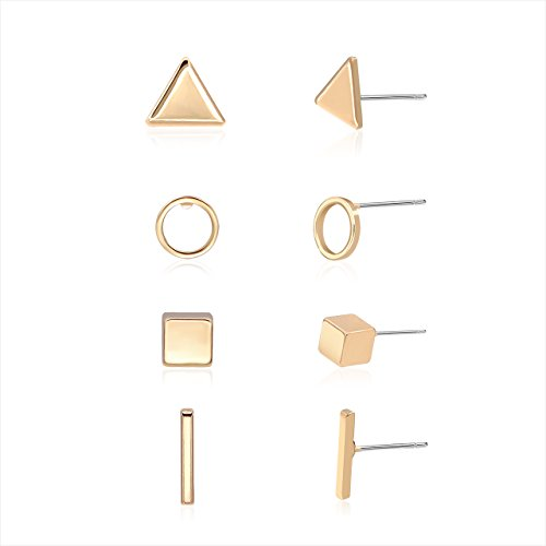 Zealmer Geometric Stud Earring Set with Triangle Circle Square and Bar Design for Girls Women