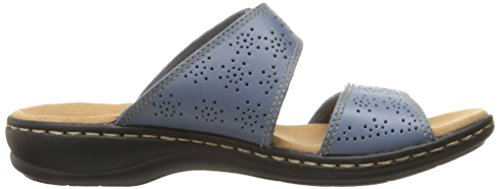 Clarks Donna Leisa Lacole Sandalo Scorrevole In Denim Blu In Pelle