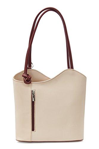 legítima hombro de Piel el mochila para en Lujoso z con marrón Libby para Italiana detalle damas Crema como o Ribete Tubería cordoncillo bolso LiaTalia en llevar Sin hecho YPqT0a
