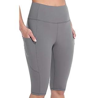 """Sociala Womens High Waist Biker Shorts with Pockets 12"""" Workout Running Short Light Grey"""