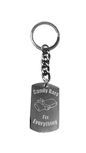 - Candy Bars Fix Everything - Metal Ring Key Chain Keychain