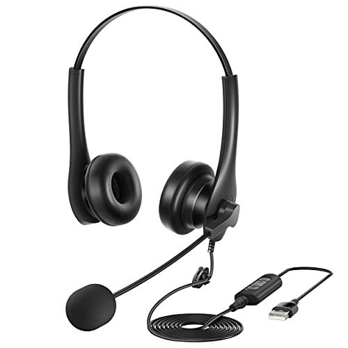 YUWAKAYI PC用ヘッドセット ノイズキャンセリングマイク USB&3.5mm両用 ヘッドフォン 在宅勤務/コールセンター/Web会議/ビデオチャット用 イヤホン