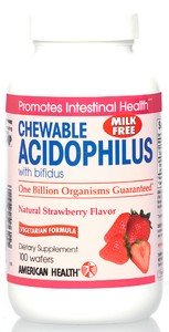 American Health Acidophilus Chewable With Bifidus, Natural Strawberry Flavor 100 Wafers