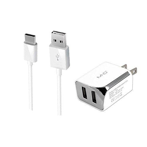 2en 1USB tipo C cargadores Bundle para Xiaomi Mi Note 4.8km Mix 2, mi A1, mi 5x (blanco)–2.1Ah cargador de...