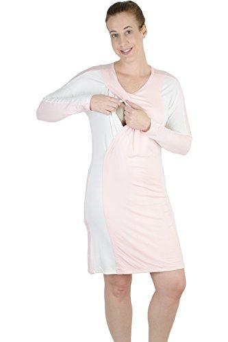 07a2ea601b247 Latched Mama Women's Long Sleeve Nursing Nightgown Medium Pink/White