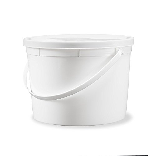 Round White Food (1 Gallon Food Safe Food Grade Round Plastic Bucket with Lid- White - 20 Pack of Buckets with Lids)