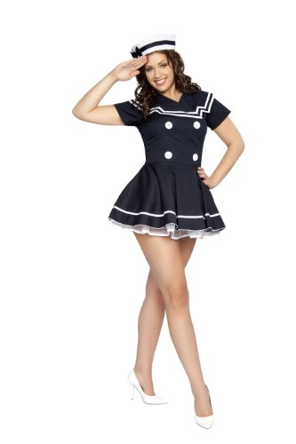 Roma Costume 2 Piece Pin-Up Captain Costume, Navy Blue, (Pinup Halloween Costumes)
