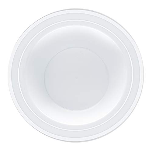 Disposable Plastic Bowls – 30 Pack – Silver Trim Real China Design – Premium Heavy Duty – By Aya's Cutlery Kingdom