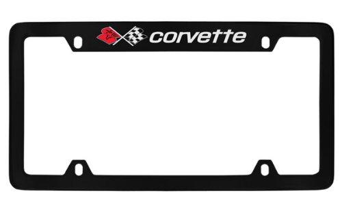 Chevrolet Corvette C3 Black Coated Metal Top Engraved License Plate Frame Holder