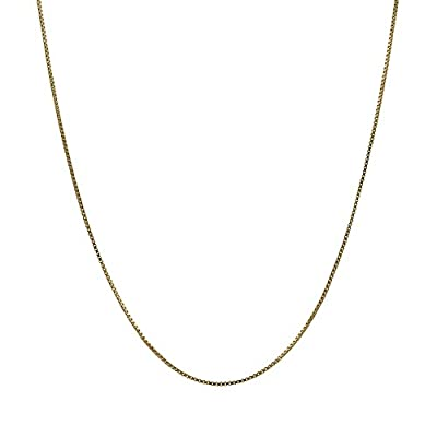 14K Solid Yellow Gold Box Chain Necklace