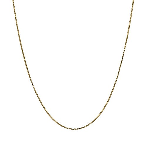 (14K Thin Solid Yellow Gold 0.5mm Box Chain Necklace - 16 Inches)