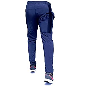 HEADGEAR Men's Slim Fit Trackpants (BrnSlvrDot_Blue_Large)