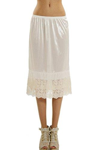 Long Double lace Satin Half Slip Skirt Extender Underskirt Plus Size- 24