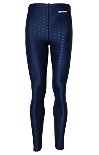 Mens Seamless Breathable Swimming Skin Tights Diving Fashion Sea Game Tights - XL - Blue (blue stripe) ()
