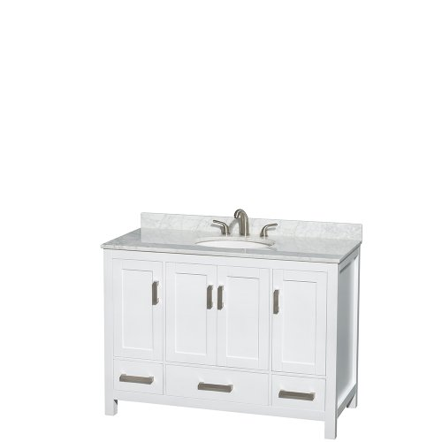 Wyndham Collection Sheffield 48 inch Single Bathroom Vanity in White, White Carrera Marble Countertop, Undermount Oval Sink, and No Mirror 48 Transitional Bathroom Vanity