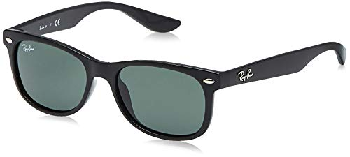 RAY-BAN JUNIOR RJ9052S New Wayfarer Kids Sunglasses, Black/Green, 47 mm (Baby Ban Sunglasses)