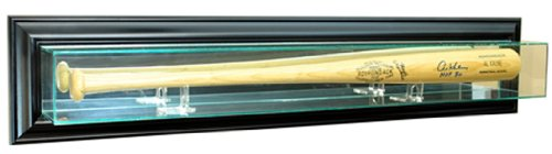 Baseball Bat Display Case (MLB Wall Mounted Bat Glass Display Case, Black)