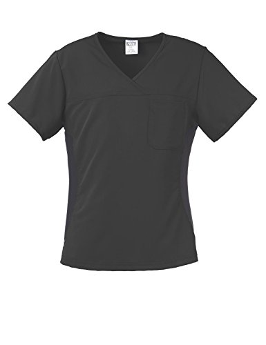 ave Scrubs Michigan ave Women's Scrub Top, Yoga Style with Black Side Stretch Panels, Black, (Michigan Scrub)