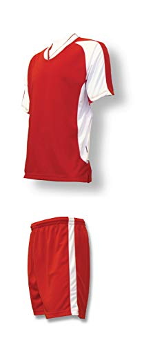 - Sweeper soccer uniform set for youth or adult soccer teams - size Adult L - red jersey, red shorts
