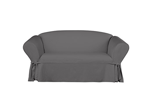 Sure Fit Essential Twill Straight Skirt One Piece Loveseat Slipcover with Scotchgard - Smoke Gray (Cotton Twill Cover)