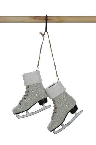 "Creative Co-op Plastic Ice Skates Glitter Ornament, 5"", White"
