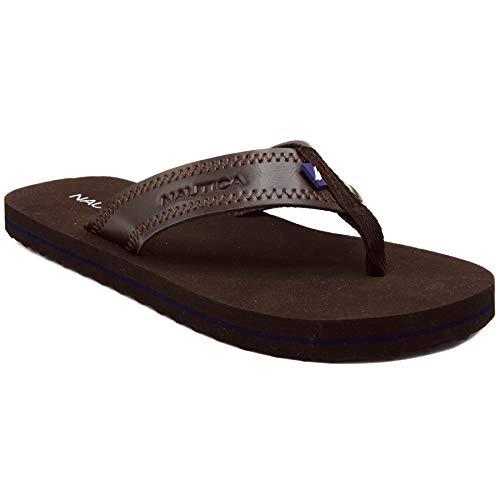 (Nautica Men's Flip Flops Light Comfort Beach Sandal, Flat Thong Slides-Spadoni-Brown-10)
