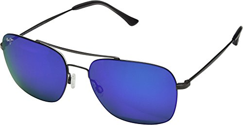 Maui Jim  Sunglasses | Lava Tube B786-02S | Satin Dark Gunmetal Aviator Frame, Polarized Blue Hawaii Lenses, with Patented PolarizedPlus2 Lens Technology (Sunglass Visier Halter)