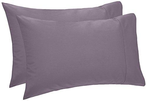 Pinzon 400 Thread Count Egyptian Cotton Sateen Hemstitch Pillow Cases - Set of 2, King, Pale Purple