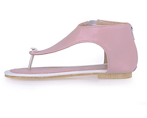 PU Open s CCALO013102 Zipper Solid Heels VogueZone009 Pink Sandals Low Toe Women nqvRTtxY
